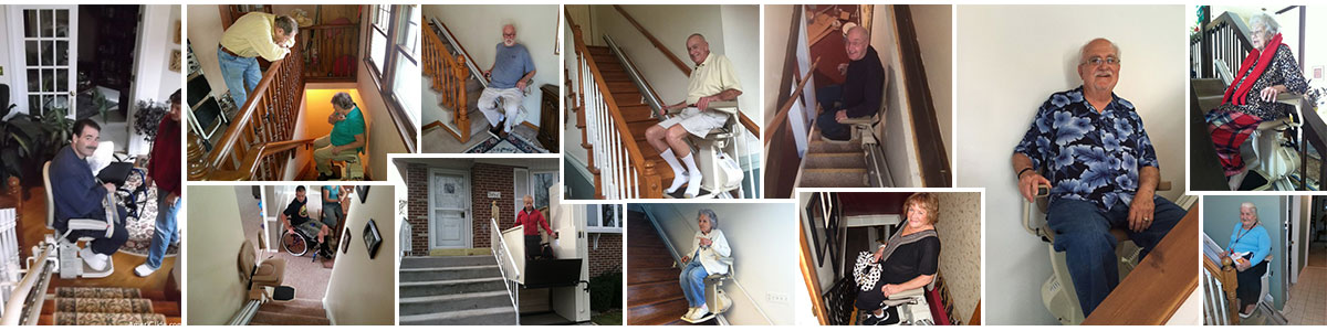 AmeriGlide Customers in their stair lifts and vertical lifts